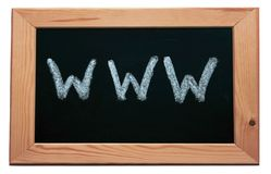 WWW. Black wooden framed chalkboard with the recogniseable internet prefix stock photos