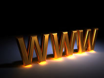 Www. Web concept - golden  www text - rendered in 3d Stock Photography