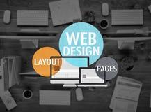 План веб-дизайна вызывает концепцию WWW вебсайта развития Стоковое фото RF