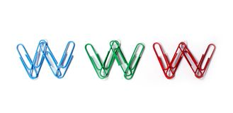 Www. Colored paper clips arranged in www Royalty Free Stock Image