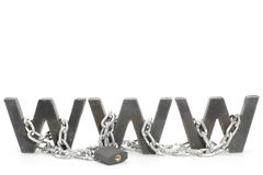 Www. Three metal WWW letters chained and locked with padlock Royalty Free Stock Photos