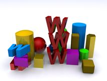 Www. 3D generated www text on white background Royalty Free Stock Images