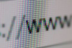 WWW Address Bar of Web Browser. Closeup of Computer Screen. WWW royalty free stock images