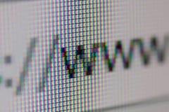WWW-Adresbar van Webbrowser Close-up van het Computerscherm royalty-vrije stock afbeeldingen