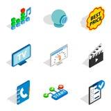 WWW age icons set, isometric style. WWW age icons set. Isometric set of 9 www age vector icons for web isolated on white background Stock Image