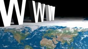 WWW au-dessus de carte de la terre Photographie stock