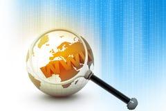 WWW auf Welt Stockfotografie