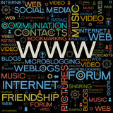 Www backgrounds with the words. Background with the words on the topic of social networking Royalty Free Stock Photo