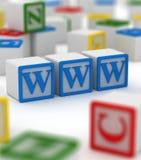 Www Block. Colorful blocks , writing on www Stock Image