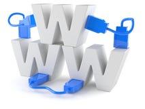 WWW bokstäver med nätverkskabel royaltyfri illustrationer