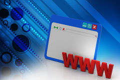 Www with browser window. In white background Royalty Free Stock Photo