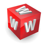 Www button, icon. 3d image of button www, red 3d cube with letters www, vector Royalty Free Stock Photos