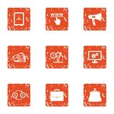 WWW cash icons set, grunge style. WWW cash icons set. Grunge set of 9 www cash vector icons for web isolated on white background Royalty Free Stock Images