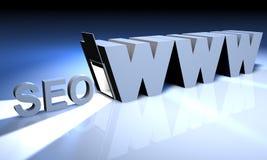 WWW com estar aberto e com luz da porta - seo Fotografia de Stock Royalty Free
