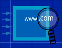 Www. com search. Magnifying glass over www. com Vector Illustration
