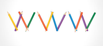 WWW composed of colored pencils Royalty Free Stock Image
