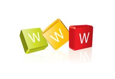 WWW - cube letters Stock Image