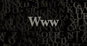 Www - 3D представило металлическую typeset иллюстрацию заголовка Стоковая Фотография