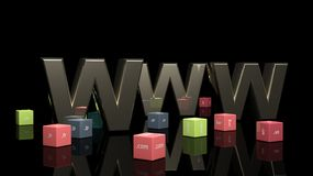 WWW in 3d with colorful cubes. And domain extensions Royalty Free Stock Photos