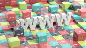 WWW in 3d. With colorful cubes and domain extensions Royalty Free Stock Photos