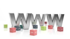 WWW in 3d. With colorful cubes and domain extensions Stock Image
