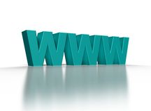 Www. 3d illustration of text 'www' over white background Royalty Free Stock Photography