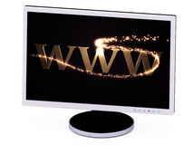 WWW 3d inscription with luminous spark on screen Royalty Free Stock Images