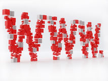 WWW 3D letters made of cubes  over white Stock Photos