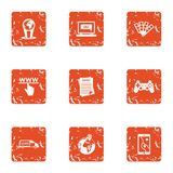 WWW deal icons set, grunge style. WWW deal icons set. Grunge set of 9 www deal vector icons for web isolated on white background Stock Photos