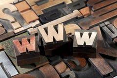 WWW die met antiek letterzetseltype wordt geschreven Royalty-vrije Stock Afbeelding