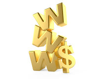 Www and dollar sign, money online concept Royalty Free Stock Photos