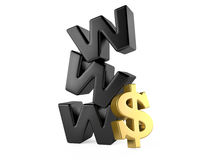 Www and dollar sign, money online concept Stock Photo