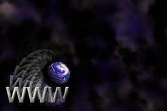 WWW e fundo do logotipo da terra ilustração stock
