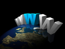 Www   with earth. 3d Very beautiful three-dimensional illustration Royalty Free Stock Photography