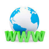 WWW and the earth. Render on a white background Stock Photo