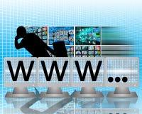 WWW en las pantallas de monitores Fotografía de archivo