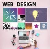 WWW för massmedia för programvara för Websitedesign UI begrepp Arkivfoton