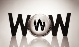 WWW with glass globe. Royalty Free Stock Photos