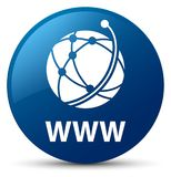 WWW (global network icon) blue round button. WWW (global network icon) isolated on blue round button abstract illustration Stock Image
