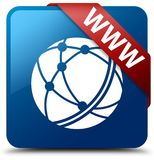 WWW (global network icon) blue square button red ribbon in corne. WWW (global network icon) isolated on blue square button with red ribbon in corner abstract Stock Images