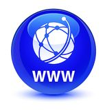 WWW (global network icon) glassy blue round button. WWW (global network icon) isolated on glassy blue round button abstract illustration Royalty Free Stock Photos