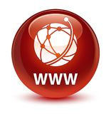 WWW (global network icon) glassy brown round button. WWW (global network icon) isolated on glassy brown round button abstract illustration Royalty Free Stock Photography