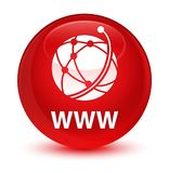 WWW (global network icon) glassy red round button. WWW (global network icon) isolated on glassy red round button abstract illustration Royalty Free Stock Photo