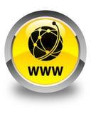 WWW (global network icon) glossy yellow round button. WWW (global network icon) isolated on glossy yellow round button abstract illustration Stock Photos