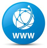 WWW (global network icon) cyan blue round button. WWW (global network icon) isolated on cyan blue round button abstract illustration Royalty Free Stock Photography