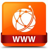 WWW (global network icon) orange square button red ribbon in mid. WWW (global network icon) isolated on orange square button with red ribbon in middle abstract Royalty Free Stock Photo