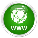 WWW (global network icon) premium green round button Stock Photography
