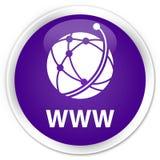 WWW (global network icon) premium purple round button. WWW (global network icon) isolated on premium purple round button abstract illustration Royalty Free Stock Photography