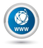 WWW (global network icon) prime blue round button. WWW (global network icon) isolated on prime blue round button abstract illustration Stock Photos