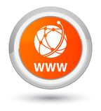 WWW (global network icon) prime orange round button. WWW (global network icon) isolated on prime orange round button abstract illustration Stock Photo